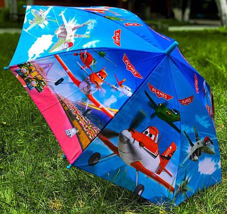 Зонт трость детский для мальчика полуавтомат Rainproof с рисунком «Самолетики» на 4-8 лет. Детский зонтик., фото 2