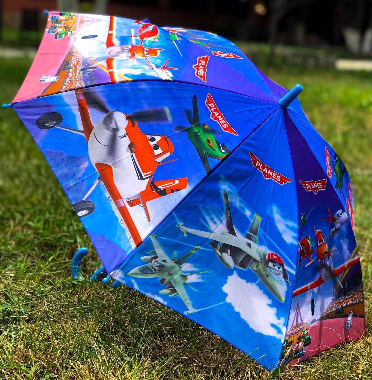 Зонт трость детский для мальчика полуавтомат Rainproof с рисунком «Самолетики» на 4-8 лет. Детский зонтик.