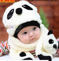 Детская шапка + шарф набор Панда, шапочка деми до 1 год, белая