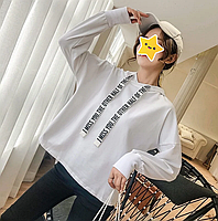 """Модное женское худи оверсайз свободного кроя, с капюшоном """"Future"""" (белого цвета)"""