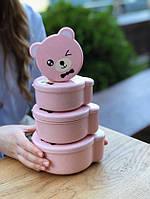 """Детский ланч-бокс """"Bear"""" 4в1, розовый"""