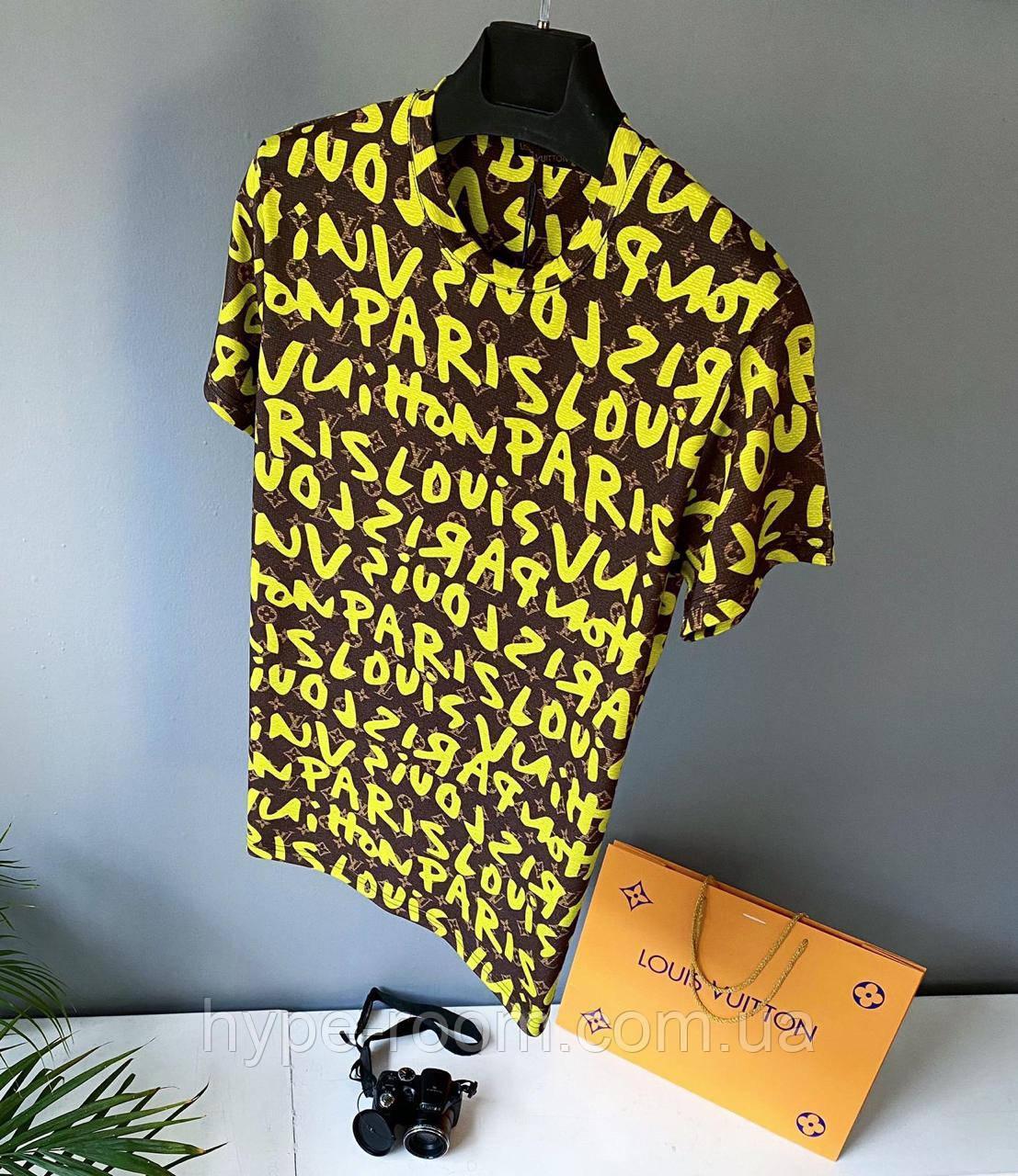 Мужская футболка в стиле Louis Vuitton желтая Люкс качество(размеры L,XXL)