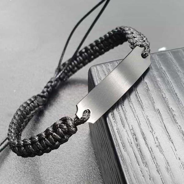 Браслет без застежки из шнурка с пластиной для индивидуальной гравировки 176085