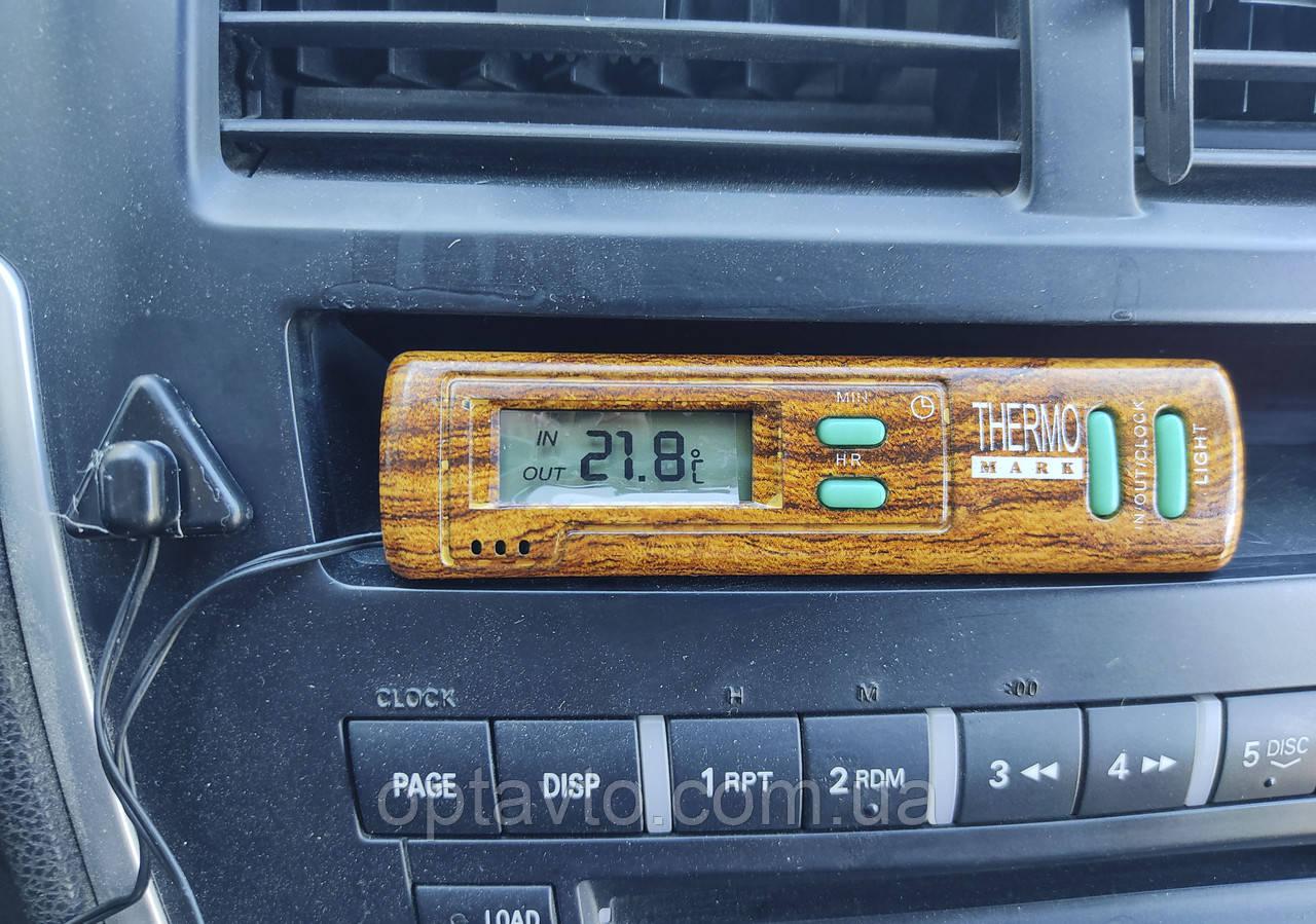Часы и термометр в авто с выносным датчиком. На батарейках.