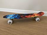 Скейт Penny Board, с светящимися колесами Пенни борд, детский , от 4 лет, расцветка Огонь и лед, фото 5