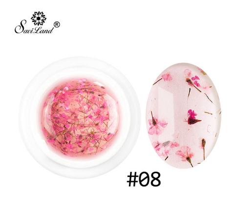 Гель Saviland Flower Fairy Gel с сухоцветами №8, 5мл