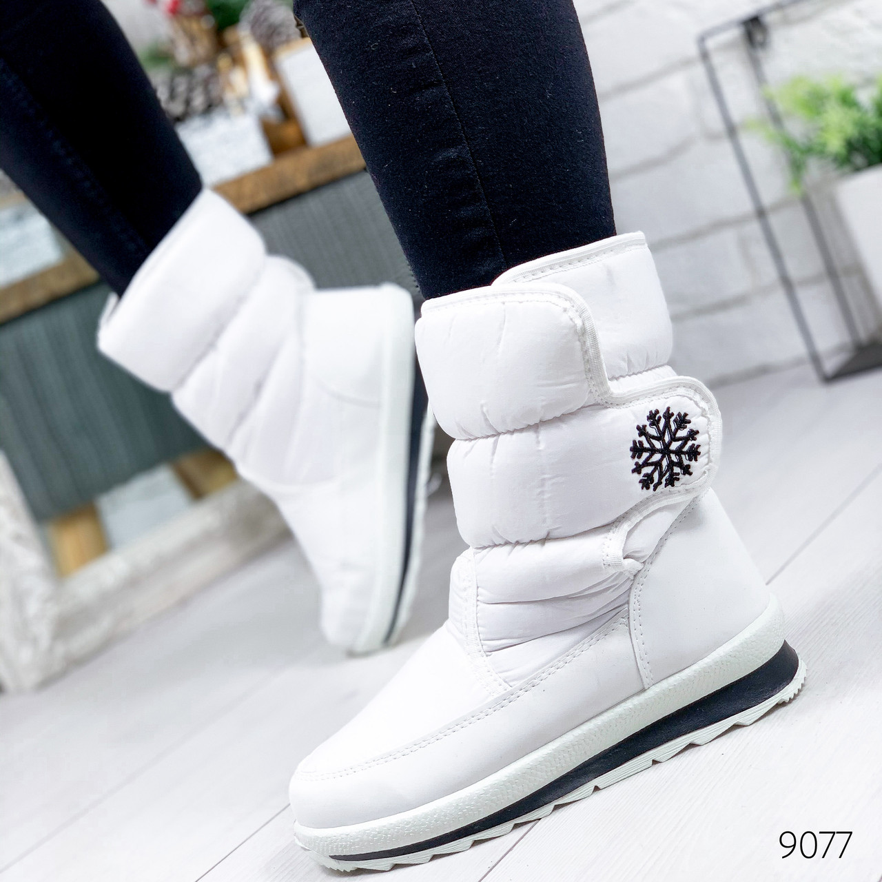 Сапоги дутики женские Снежинка G белые 9077