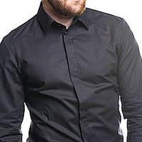 Классическая мужская однотонная рубашка голубая