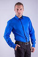 Классическая мужская однотонная рубашка электрик