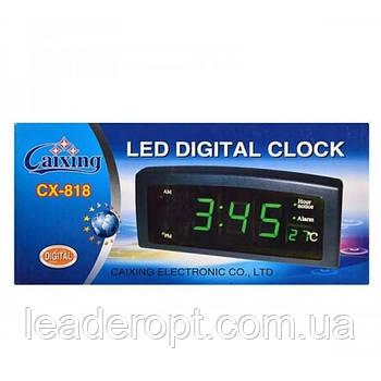 ОПТ Настільні електронні годинник з будильником і термометром CX 818 green