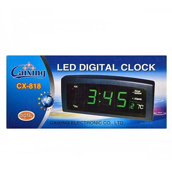 ОПТ Настольные электронные часы с будильником и термометром CX 818 green