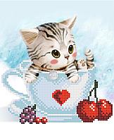 Котенок в чашке  Схема вышивки бисером .