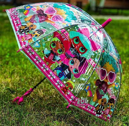 Зонт трость дитячий для дівчинки напівавтомат Fiaba з малюнком «ЛОЛ-3» на 4-6 років. Дитячий парасольку., фото 2
