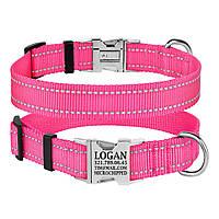 Ошейник для Собак BronzeDog Active Нейлоновый со Светоотражением и Металлической Пряжкой Розовый S