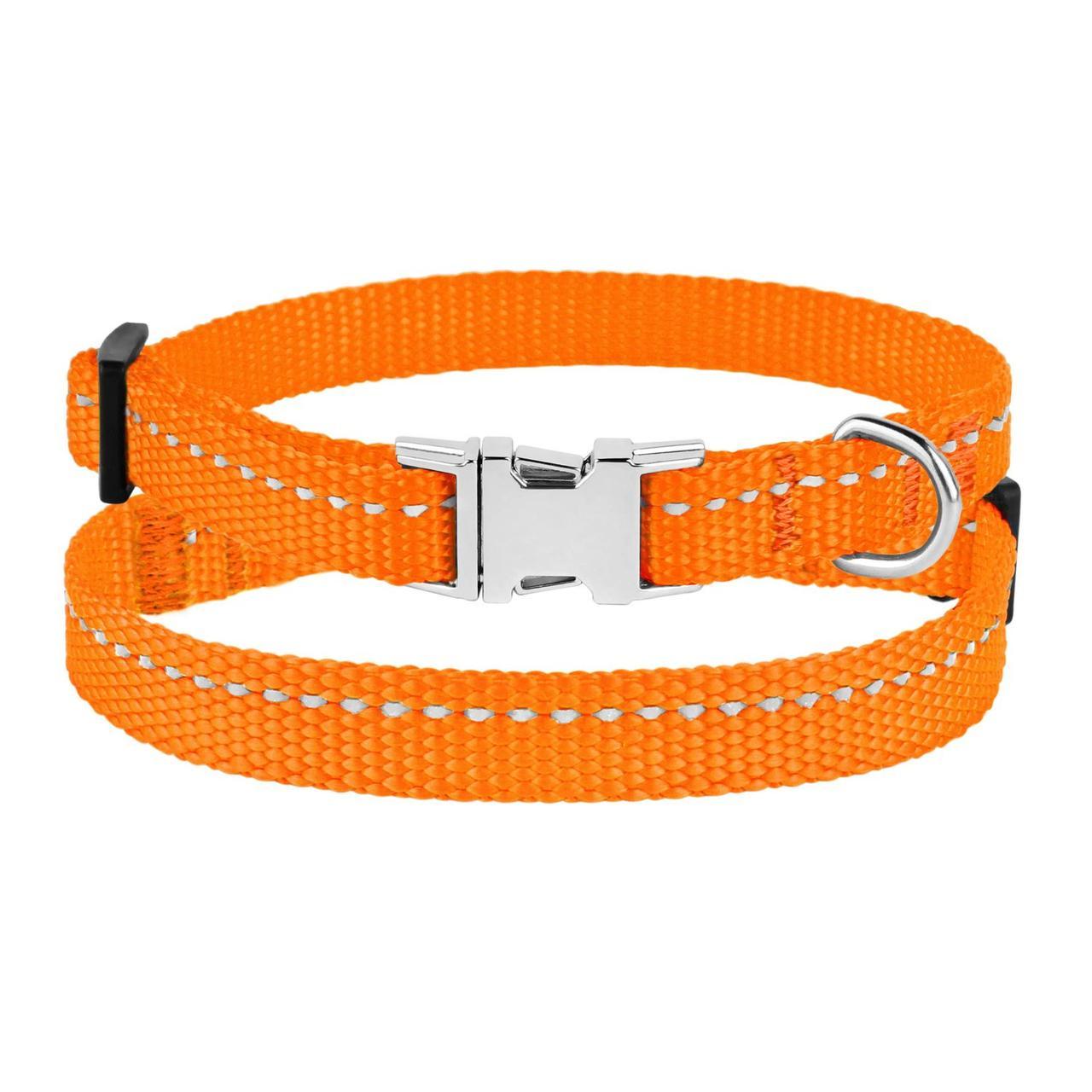 Ошейник для Собак Мелких Пород BronzeDog Active Нейлоновый со Светоотражением и Металлической Пряжкой Оранжевый XS