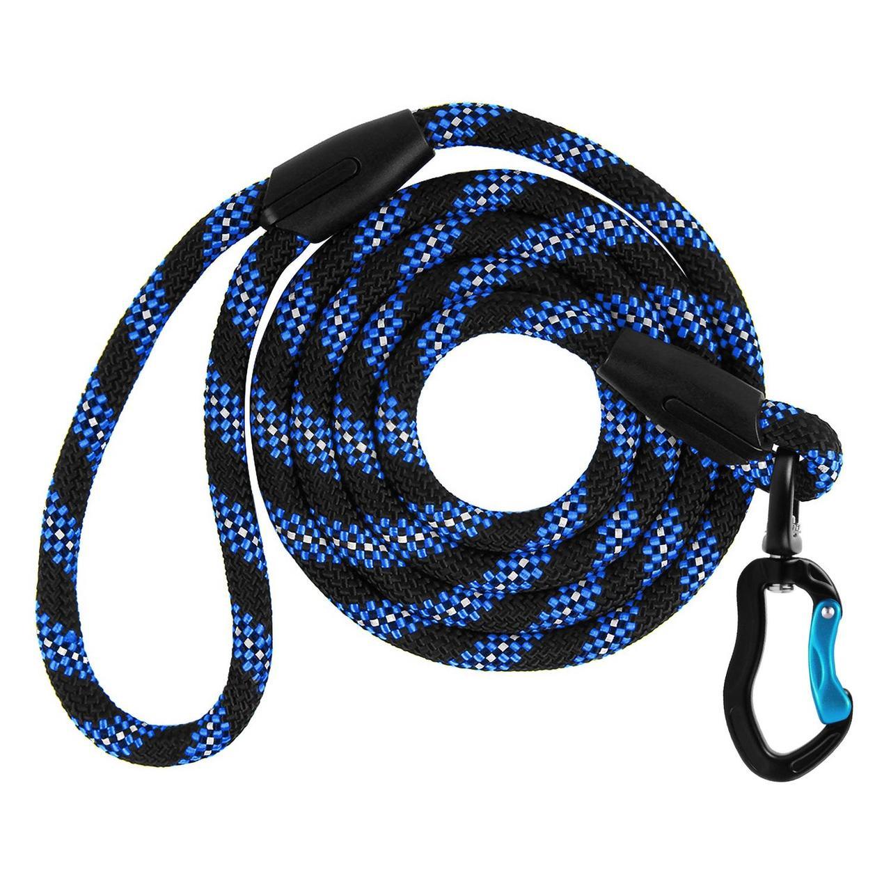 Поводок для Собак Bronzedog Active Сверхпрочный из Альпинистского Шнура Черно-Голубой L/XL