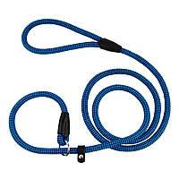 Поводок-Удавка для Собак Bronzedog Active из Альпинистского Шнура Тренировочный Черно-Голубой L/XL