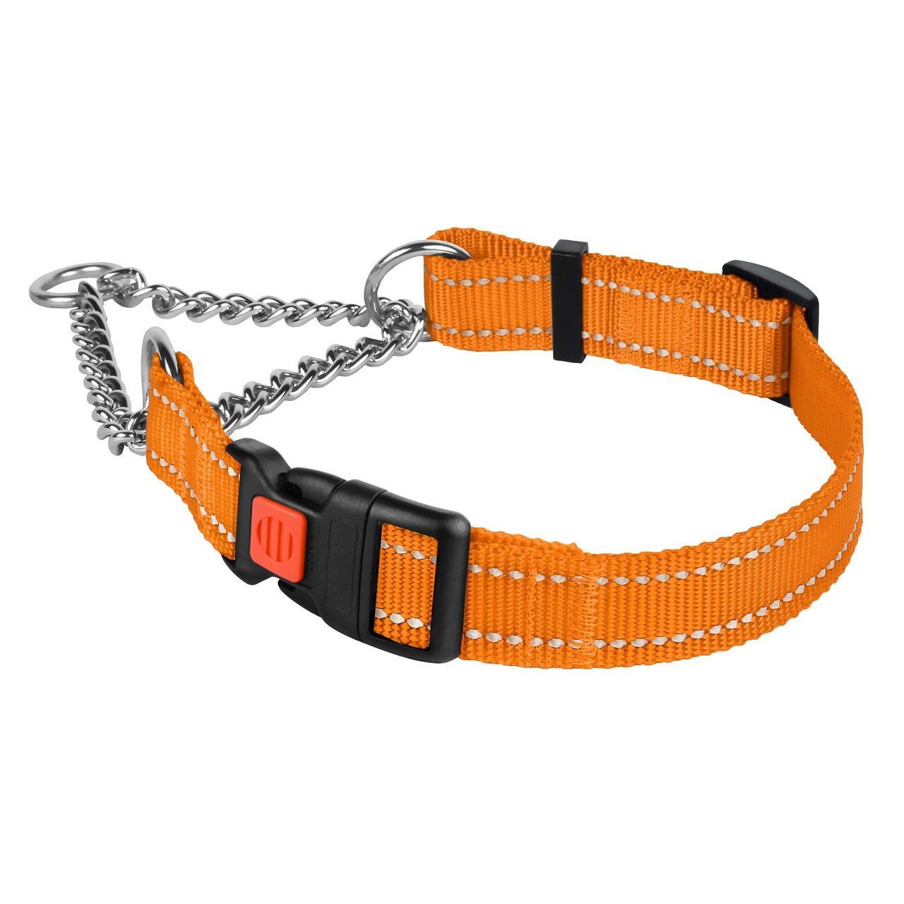 Ошейник для Собак Мартингейл BronzeDog Active Нейлоновый с Пластиковой Пряжкой и Светоотражением Оранжевый L
