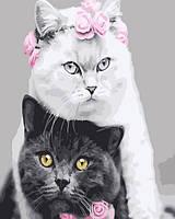 "Картина по номерам. Rainbow Art ""Белая кошка , черный кот"" GX26128-RA"