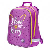 """Школьный ортопедический рюкзак для девочек, YES """"I love kitty"""". 17 л, 38 см, каркасный ранец для школы"""