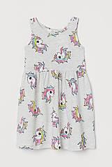 """Літній сарафан для дівчинки H&M """"Єдиноріг"""" сірий 1.5-2 р./92 см"""
