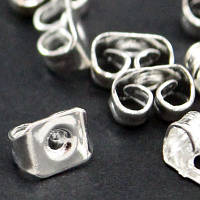 Заглушки Железные, Цвет: Серебро, Размер: 5х3.5мм, Отверстие 0.8~1мм, (УТ000007617)