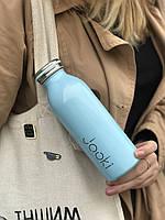 """Термобутылка """"Небо"""" из экоматериала, нержавеющей стали, голубая 450 мл"""