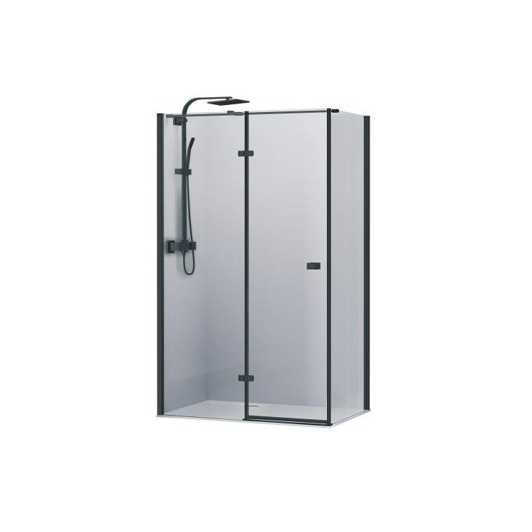 Кабіна душова, квадратна,ліва, розпашна, колір - чорний матовий, 90х90, без піддона, скло прозоре FEN2110BL UP