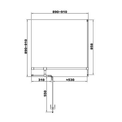 Кабіна душова, квадратна,ліва, розпашна, колір - чорний матовий, 90х90, без піддона, скло прозоре FEN2110BL UP, фото 2