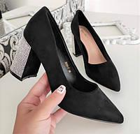 Туфли черные женские на каблуке экозамша