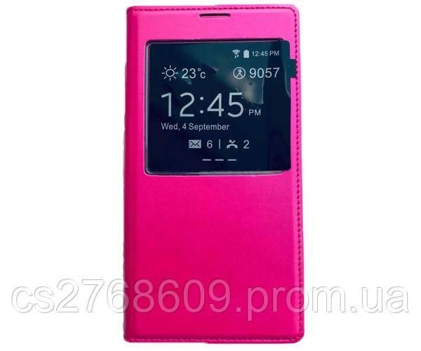 Чехол книжка Flip Cover Samsung I9190 рожевий з вікн