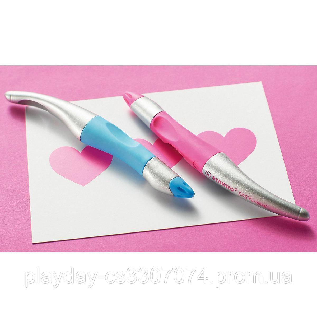 Шариковая ручка для левши Stabilo + 3 стержня синего цвета (Германия)