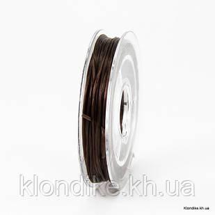 Нить Упругая Эластичная, 0.8 мм, Цвет: Коричневый (10 метров)