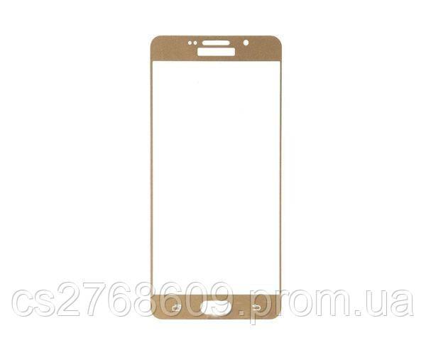Защитное стекло захисне скло Samsung A710, A7 2016 золотий 5D (тех.пак)