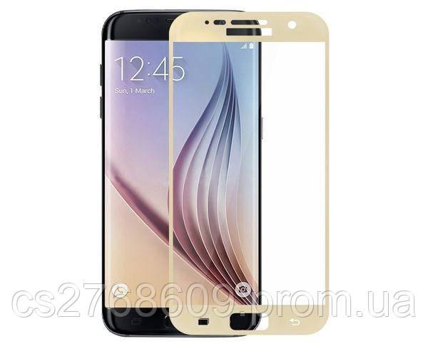 Защитное стекло захисне скло Samsung S7, G930 золотий 5D (тех.пак)