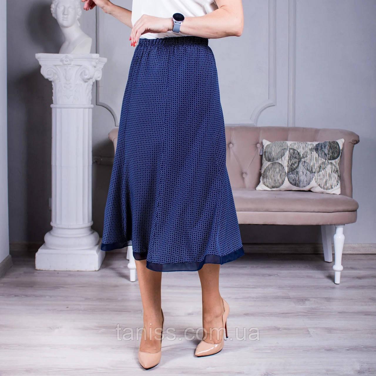 """Женская летняя  юбка  макси """"Годе """",ткань софт, размеры 52,54,56,58,60,62,64 ,синяя с красным ,спідниця"""