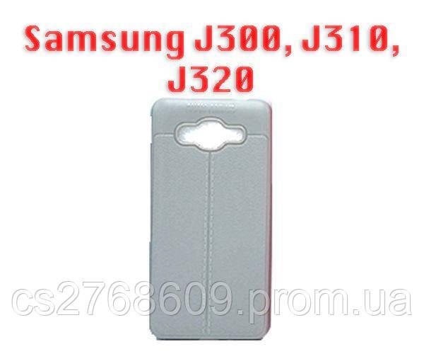 """Чехол силікон """"Шкіра"""" Samsung J300, J310, J320 сірий AUTO FOCUS"""