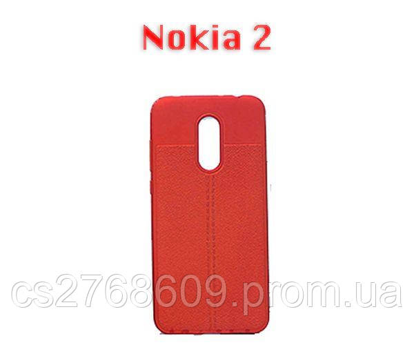 """Чехол силікон """"Шкіра"""" Nokia 2 червоний AUTO FOCUS"""