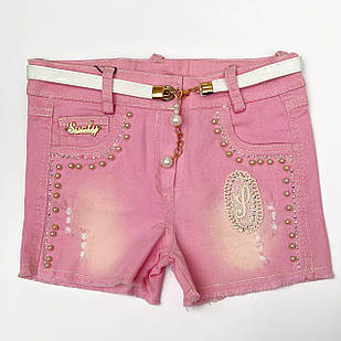 Шорты для девочки, розовый деним, размеры 5, 6, 7, 8 лет