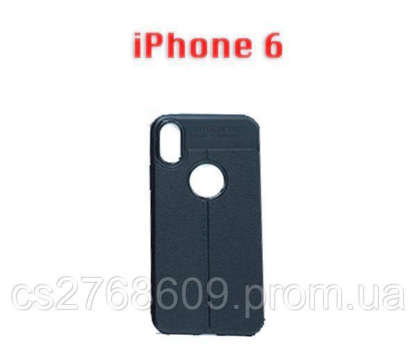 """Чехол силікон """"Шкіра"""" iPhone 6 чорний AUTO FOCUS"""