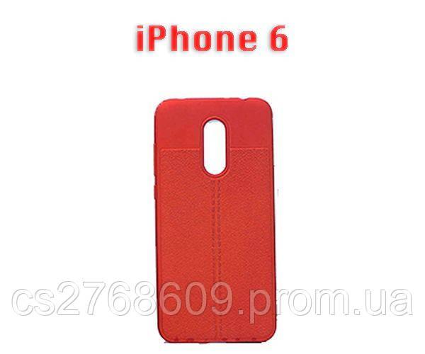 """Чехол силікон """"Шкіра"""" iPhone 6 червоний AUTO FOCUS"""