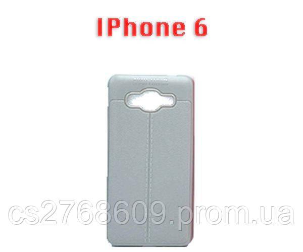"""Чехол силікон """"Шкіра"""" iPhone 6 сірий AUTO FOCUS"""