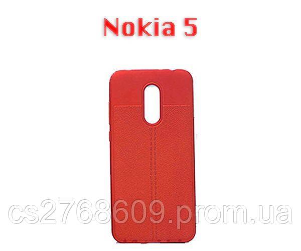 """Чехол силікон """"Шкіра"""" Nokia 5 червоний AUTO FOCUS"""