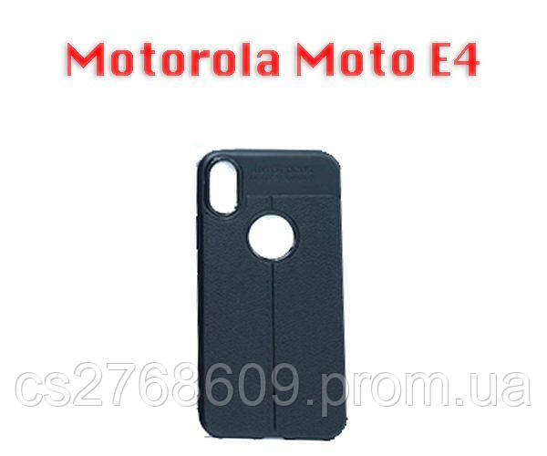 """Чехол силікон """"Шкіра"""" Motorola Moto E4, XT1762, XT1766 чорний AUTO FOCUS"""