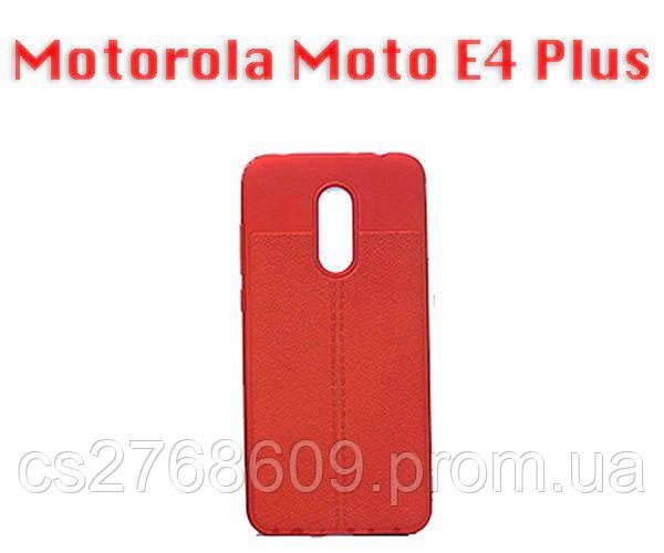 """Чехол силікон """"Шкіра"""" Motorola Moto E4 Plus, XT1771 червоний AUTO FOCUS"""
