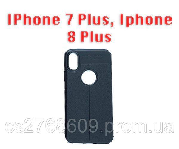 "Чехол силікон ""Шкіра"" IPhone 7 Plus, Iphone 8 Plus чорний AUTO FOCUS"