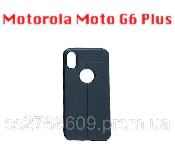 """Чехол силікон """"Шкіра"""" Motorola Moto G6 Plus чорний AUTO FOCUS"""
