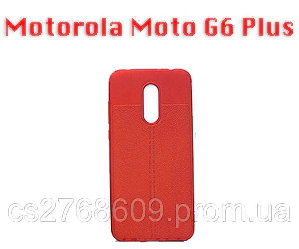 """Чехол силікон """"Шкіра"""" Motorola Moto G6 Plus червоний AUTO FOCUS"""