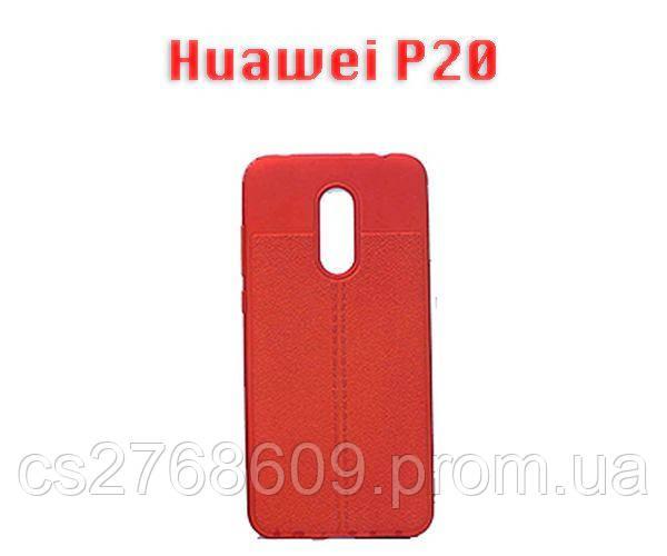 """Чехол силікон """"Шкіра"""" Huawei P20, EML-L29 червоний AUTO FOCUS"""