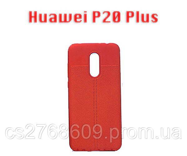 """Чехол силікон """"Шкіра"""" Huawei P20 Plus, P20 Pro червоний AUTO FOCUS"""